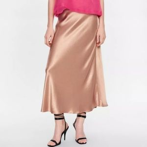 Zara Beige Satin Long Midi Skirt XS